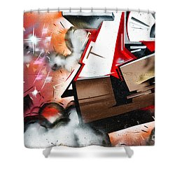 Shower Curtain featuring the painting  Abstract Graffiti On The Textured Wall by Yurix Sardinelly