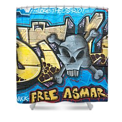 Shower Curtain featuring the painting  Abstract Permission Graffiti Wall by Yurix Sardinelly