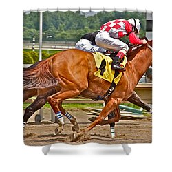 Shower Curtain featuring the photograph  Betting On Number Four by Alice Gipson