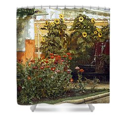 Corner Of A Roman Garden Shower Curtain by Sir Lawrence Alma-Tadema