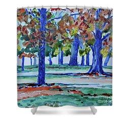 Fall In My Backyard Shower Curtain by Jan Bennicoff