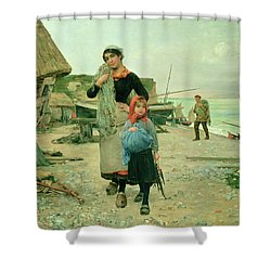 Fisherfolk Returning With Their Nets Shower Curtain by Henry Bacon