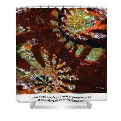 In Me You May Have Peace. Christian Art Poster Shower Curtain by Mark Lawrence