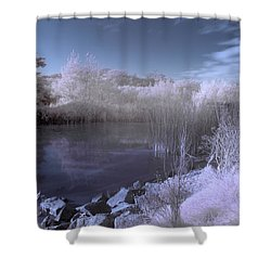 Shower Curtain featuring the photograph  Infrared Pond by Beverly Cash