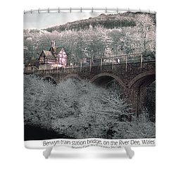 Shower Curtain featuring the photograph  Infrared Train Station Bridge by Beverly Cash