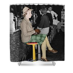 Lady In A Diner Shower Curtain by Andrew Fare