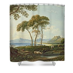 Landscape With Harlech Castle Shower Curtain by John Varley