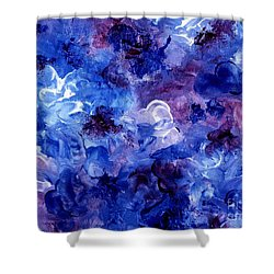 Shower Curtain featuring the painting  Painting Of Flowers Energy In Abstract Form by Annie Zeno