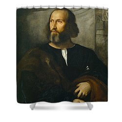 Portrait Of A Bearded Man Shower Curtain by Titian