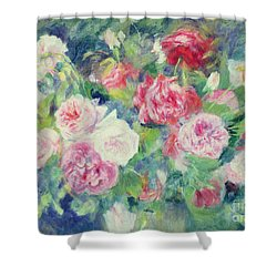Roses Shower Curtain by Pierre Auguste Renoir
