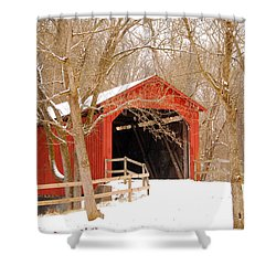 Shower Curtain featuring the photograph  Sandy Creek Cover Bridge  by Peggy Franz
