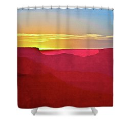 Shower Curtain featuring the painting   Sunset At Grand Canyon Desert View by Bob and Nadine Johnston