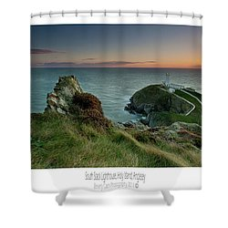 Sunset At South Stack Lighthouse Shower Curtain by Beverly Cash