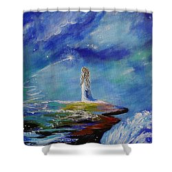 Sweet Little Wishes Shower Curtain by Leslie Allen