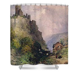 The Castle Of Katz On The Rhine Shower Curtain by William Callow