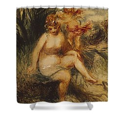Venus And Love Allegory Shower Curtain by Pierre Auguste Renoir