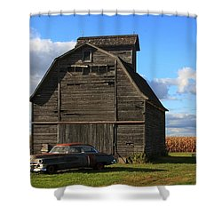 Vintage Cadillac And Barn Shower Curtain by Lyle Hatch