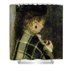 Young Woman With A Small Veil Shower Curtain by Pierre Auguste Renoir