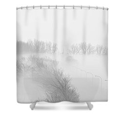 023 Buffalo Ny Weather Fog Series Shower Curtain by Michael Frank Jr