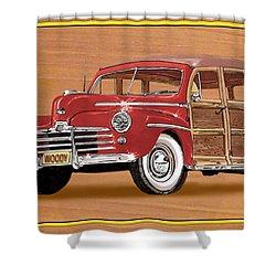 1946 Ford Woody Shower Curtain by Jack Pumphrey