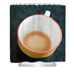 A Cup With The Remains Of Tea On A Green Table Shower Curtain by Ashish Agarwal