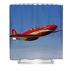A Dago Red P-51g Mustang In Flight Shower Curtain by Scott Germain