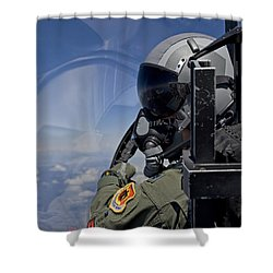 A F-15 Pilot  Looks Over At His Wingman Shower Curtain by HIGH-G Productions