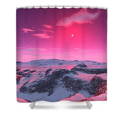 A Hypothetical Planet Orbiting A Red Shower Curtain by Ron Miller