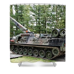 A Leopard 1a5 Mbt Of The Belgian Army Shower Curtain by Luc De Jaeger