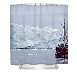 A Midnight Cruise Around The Ilulissat Shower Curtain by Axiom Photographic