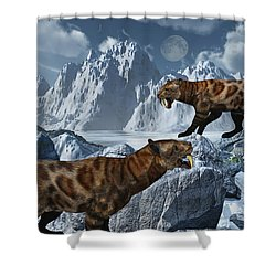 A Pair Of Sabre-toothed Tigers Shower Curtain by Mark Stevenson