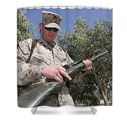 A Soldier Holds The M-40a1 Sniper Rifle Shower Curtain by Stocktrek Images