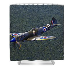 A Supermarine Spitfire Mk-18 In Flight Shower Curtain by Scott Germain