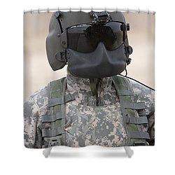 A Uh-60 Black Hawk Helicopter Crew Shower Curtain by Terry Moore