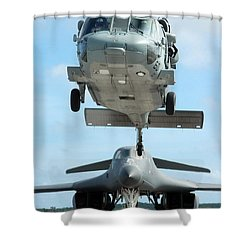 A U.s. Navy Mh-60s Seahawk Helicopter Shower Curtain by Stocktrek Images