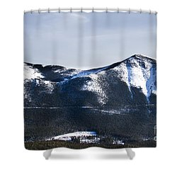 A View Of Snowy Mountains From Pikes Peak Shower Curtain by Ellie Teramoto