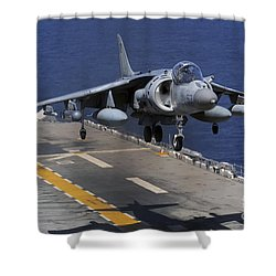 An Av-8b Harrier Jet Lands Shower Curtain by Stocktrek Images