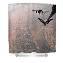 An F-15e Strike Eagle Is Refueled Shower Curtain by Stocktrek Images