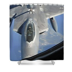 An F-22 Raptor Receives Fuel Shower Curtain by Stocktrek Images