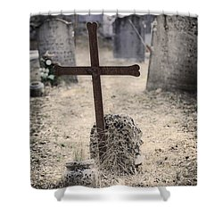 An Old Cemetery With Grave Stones Shower Curtain by Joana Kruse