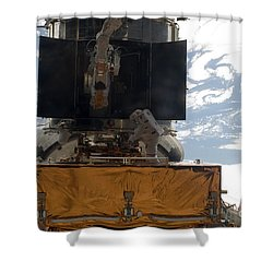 Astronauts Working On The Hubble Space Shower Curtain by Stocktrek Images