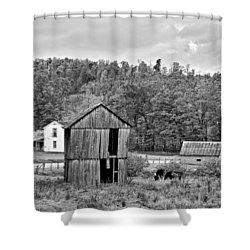Autumn Farm Monochrome Shower Curtain by Steve Harrington