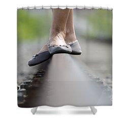 Balance On Railroad Tracks Shower Curtain