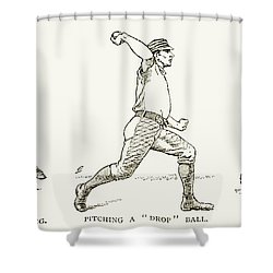 Baseball Pitching, 1889 Shower Curtain by Granger