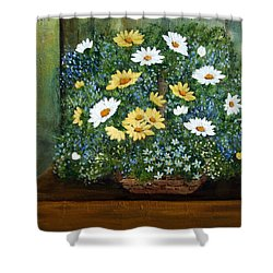 Basket Of Daisies Shower Curtain