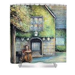 Shower Curtain featuring the painting Bass Fiddle At Ford Gala I by Bernadette Krupa