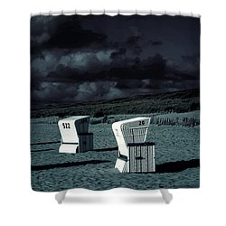 Beach Chairs Shower Curtain by Joana Kruse