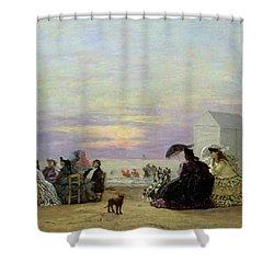 Beach Scene Shower Curtain by Eugene Louis Boudin