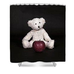Bear And Apple Shower Curtain by Joana Kruse