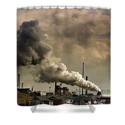 Black Smoke Emitting From Factory Shower Curtain by John Short